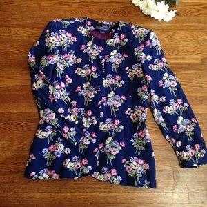 Vintage Herman Geist Floral Navy Buttonup Blazer